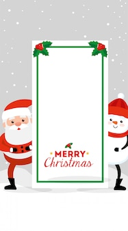 Feliz tarjeta de navidad con santa claus y muñeco de nieve