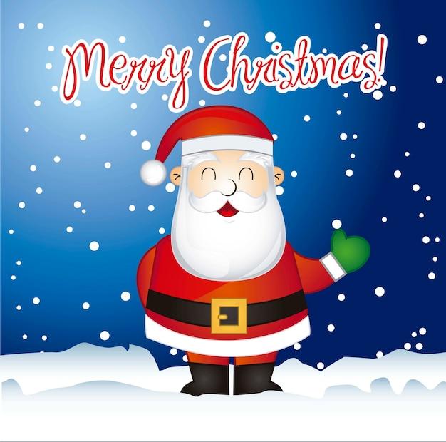 Feliz tarjeta de navidad con santa claus sobre ilustración vectorial de nieve