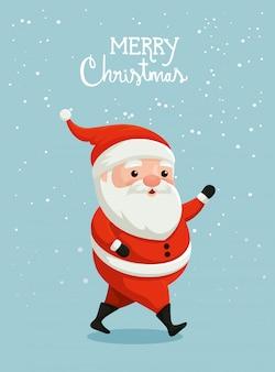 Feliz tarjeta de navidad con santa claus