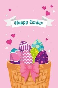 Feliz tarjeta de pascua con huevos decorados en cesta de mimbre, diseño de ilustraciones vectoriales