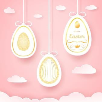 Feliz tarjeta de pascua con huevos de papel cortado y oro