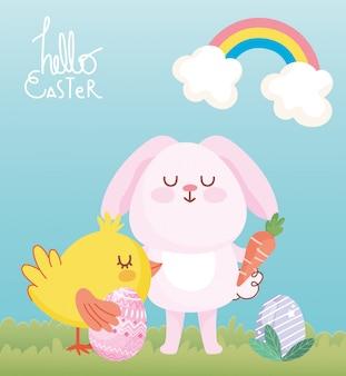 Feliz tarjeta de pascua, rosa conejito pollo con huevos zanahoria nubes hierba