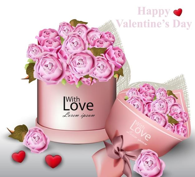 Feliz tarjeta de san valentín con caja de regalo de flores de peonía ilustraciones del vector