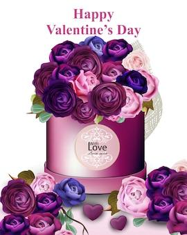 Feliz tarjeta de san valentín con peonía y rosas caja de regalo de flores ilustraciones vectoriales