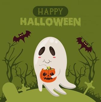 Feliz tarjeta de temporada de halloween con dibujos animados