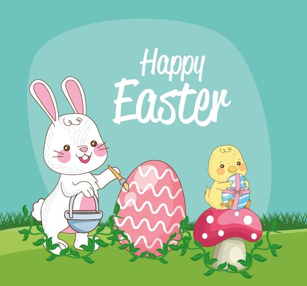 Feliz tarjeta de temporada de pascua con pollito y conejo pintando huevo