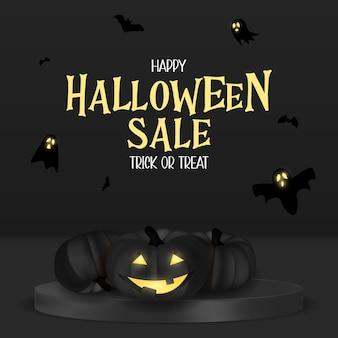 Feliz tarjeta de vacaciones de venta de halloween con calabaza divertida. ilustración vectorial eps10
