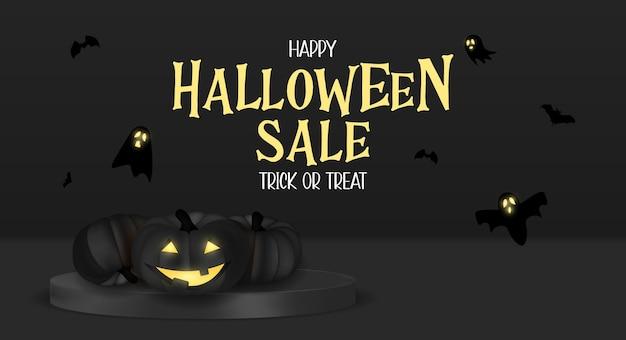 Feliz tarjeta de vacaciones de venta de halloween con calabaza divertida. ilustración vectorial