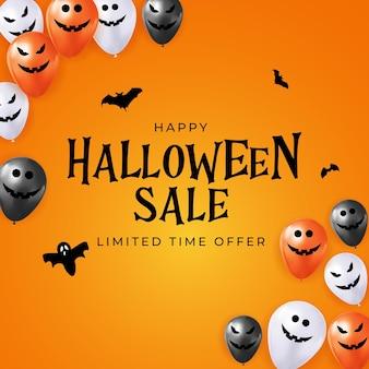 Feliz tarjeta de vacaciones de venta de halloween con globos divertidos. ilustración vectorial