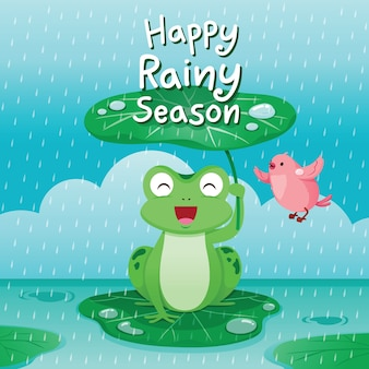 Feliz temporada de lluvias, rana bajo la hoja de loto para protegerse bajo la lluvia, pájaro volando