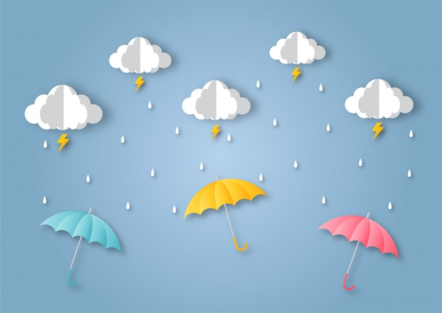 Feliz temporada de monzones de fondo. arcoiris en la lluvia. estilo de arte de papel.