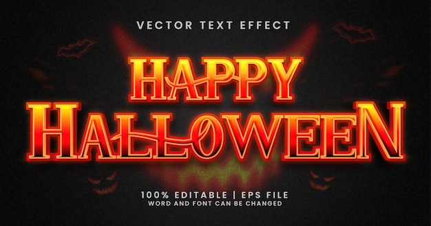 Feliz texto de halloween, plantilla de efecto de texto editable de terror