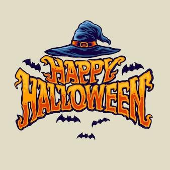 Feliz tipografía de halloween