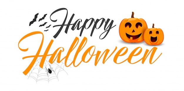 Feliz tipografía de vector de halloween.