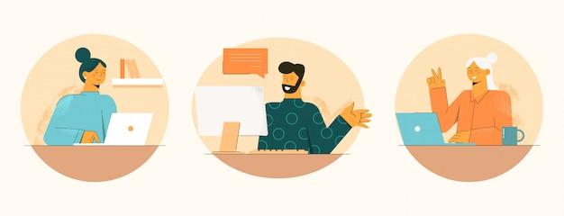 Feliz trabajo en casa en cuarentena. la gente trabaja en línea, el hombre realiza una videoconferencia con dos empleados.