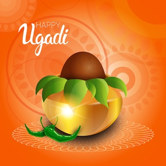 Feliz ugadi y gudi padwa tarjeta de felicitación de año nuevo hindú holiday pot con coco