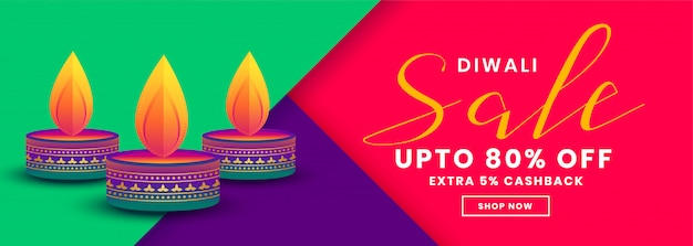 Feliz venta creativa de diwali y plantilla de banner de ofertas