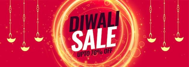Feliz venta de diwali y plantilla de banner de descuento