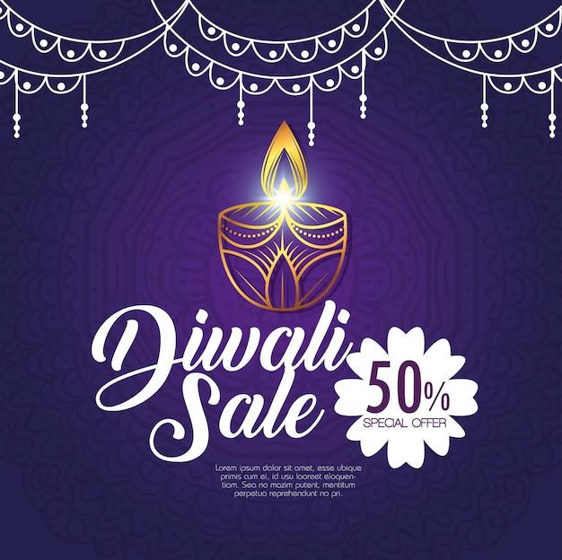 Feliz venta de diwali con velas