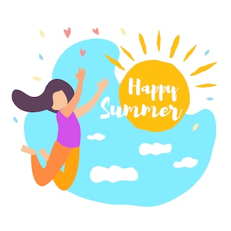 Feliz verano niña salta. brilla el sol, cielo azul, hora de verano en la nube