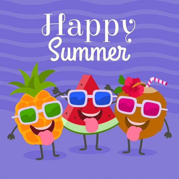 Feliz verano con personajes de sandía, piña y coco.