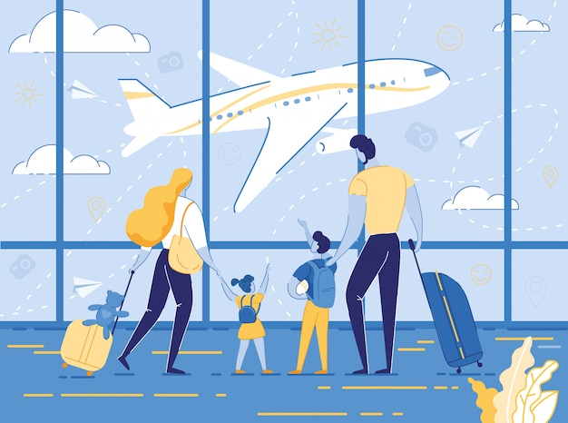 Feliz viaje familiar con niños padres e hijos