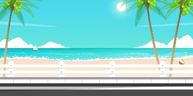 Feliz viaje de verano, vector de carretera de mar.