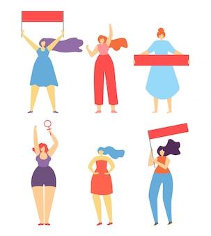 Feminismo mujer protesta huelga personajes de dibujos animados planos