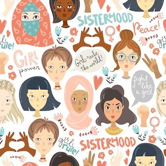 Feminismo. patrones sin fisuras con retratos de mujeres y sig feminismo