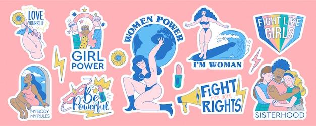Feminista y cuerpo positivo conjunto de colección de diseños de insignias de pegatinas. ilustración de dibujos animados de movimientos femeninos con citas inspiradoras. apoyo de poder a mujeres y niñas. signos de moda hipster.