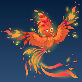 Fénix con cola majestuosa y plumaje ardiente