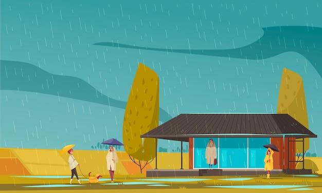 Fenómenos naturales de otoño con símbolos de lluvia planos.