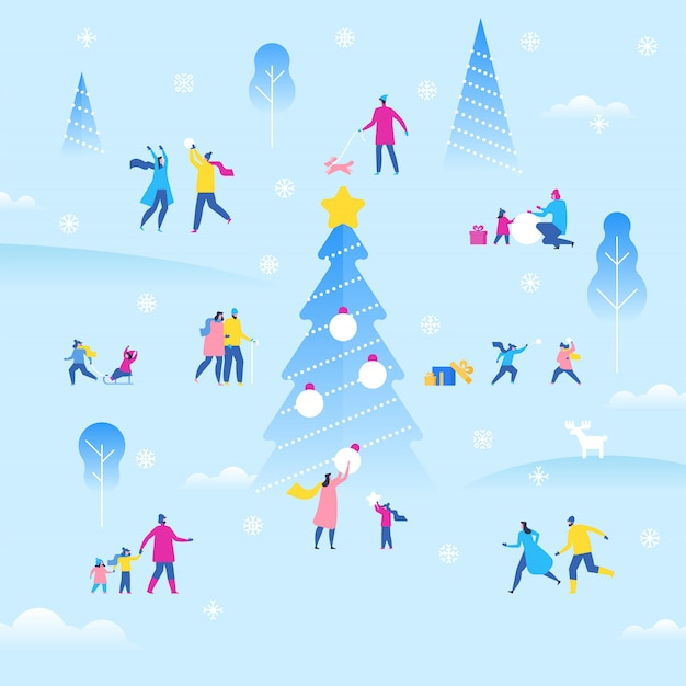 Feria al aire libre de navidad o año nuevo, pequeños personajes agradables