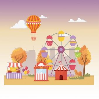Feria de diversión carnaval cabina carpa globos globo aerostático rueda de la fortuna recreación de la ciudad