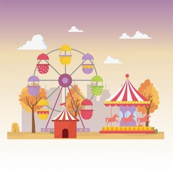 Feria de diversión carnaval carpa carros noria recreación entretenimiento