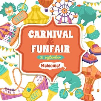 Feria de diversión y cartel del carnaval