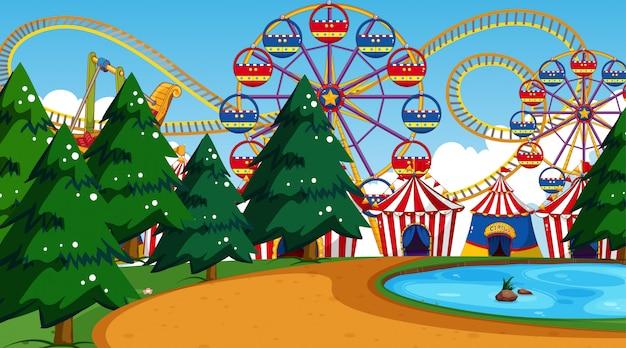Feria de diversión con parque de atracciones amusemtn