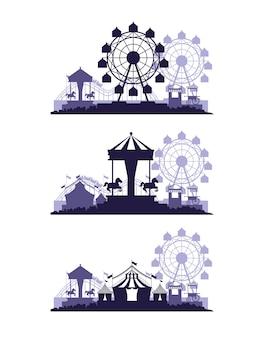 Feria del festival de circo ambientada en escenarios de colores azul y blanco.