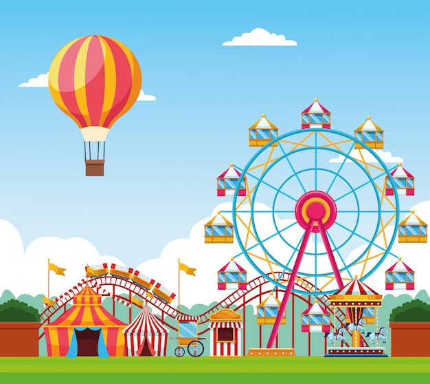 Feria de festivales con divertidas atracciones paisajísticas.