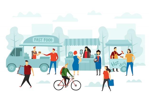 Feria de fin de semana de mercado. ilustración de tienda callejera, camión de comida y mercadillos