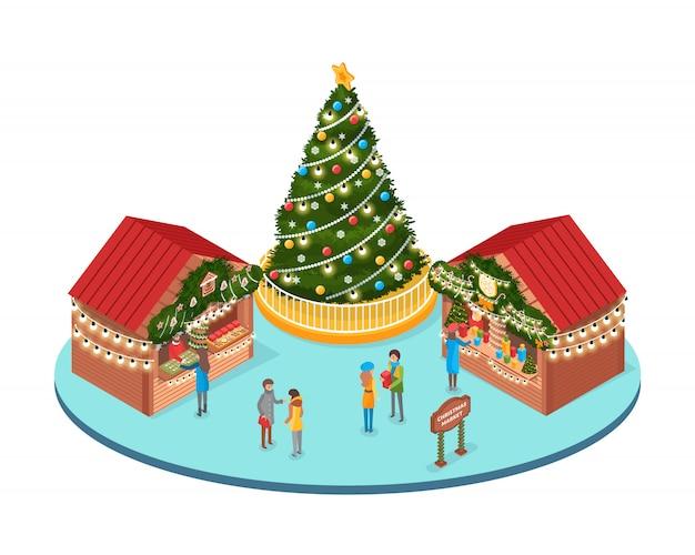 Feria de navidad, mercado de vacaciones de invierno con gente