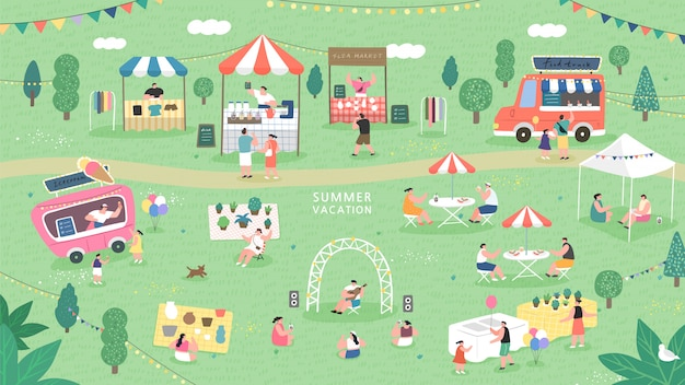 Feria de verano festival de comida, mercado de pulgas de verano.