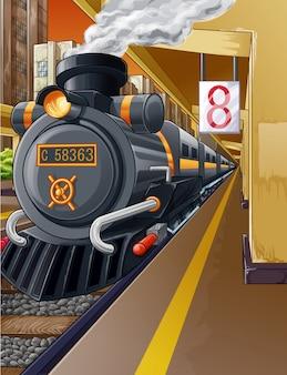 Ferrocarril en la estación de tren y motor de vapor.