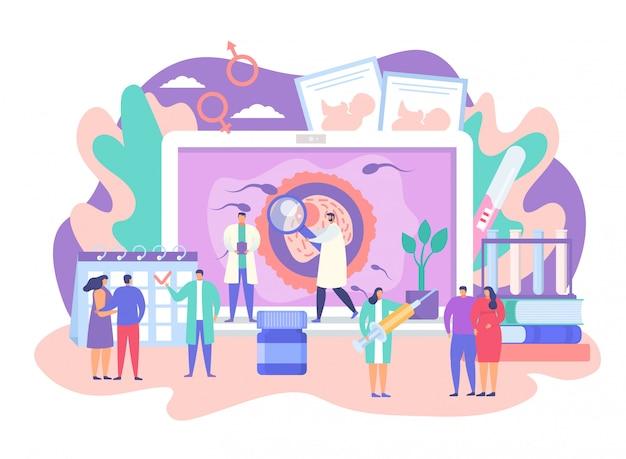 Fertilidad, dibujos animados pequeño bebé planificación pareja personaje reunión con el médico, cuidado de la salud de la paternidad en blanco