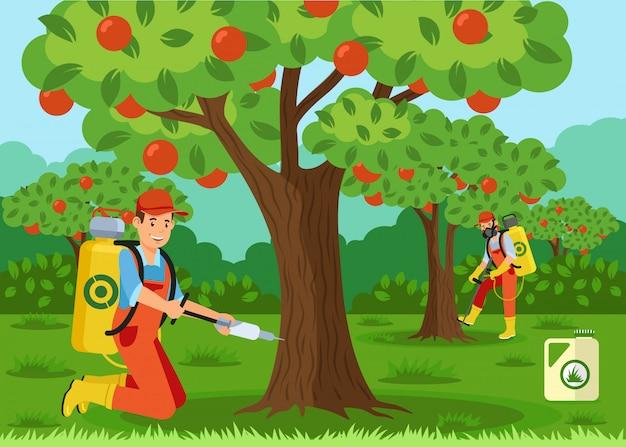 Fertilización de árboles, ilustración vectorial de inyección