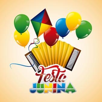 Festa junina acordeón cometa globos festivo