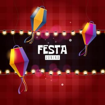 Festa junina atrasa y linterna de papel