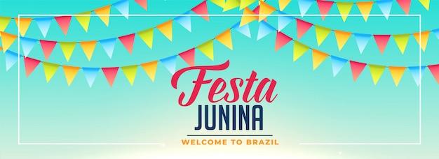 Festa junina banderas decoracion banner diseño
