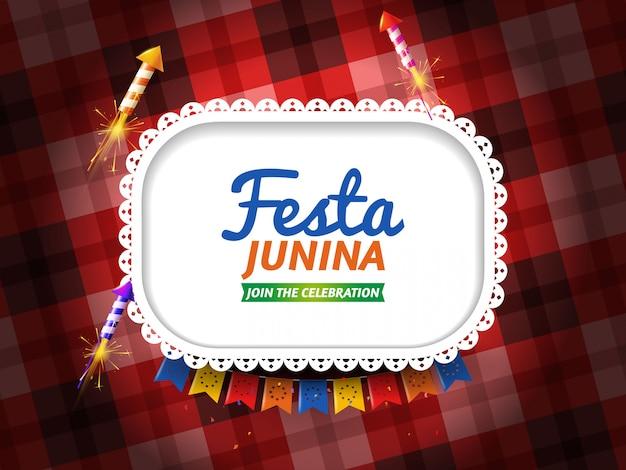 Festa junina con banderines y fuegos artificiales