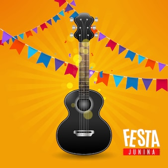 Festa junina con banderines y guitarra